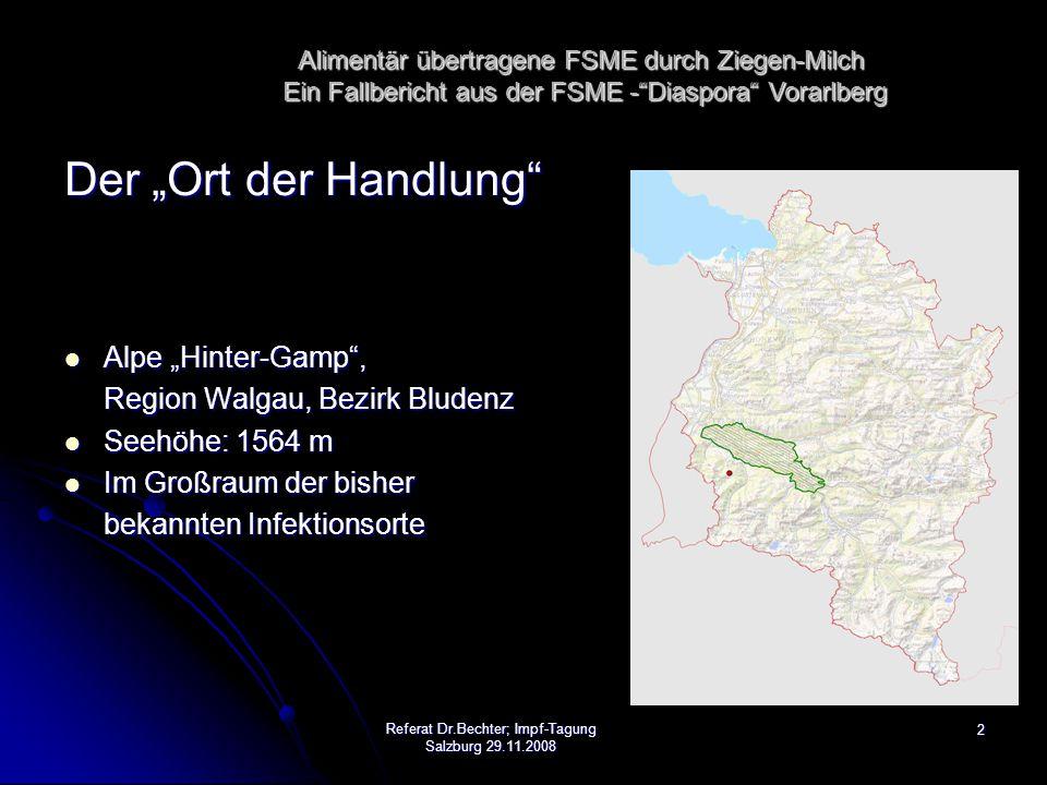 """13Referat Dr.Bechter; Impf-Tagung Salzburg 29.11.2008 28.7.2008: Anfrage der VN -Redaktion betreffend neu aufgetretenen FSME-Falles 28.7.2008: Anfrage der VN -Redaktion betreffend neu aufgetretenen FSME-Falles 29.7.2008: Vorarlberger Nachrichten: Berichterstattung über Indexfall 29.7.2008: Vorarlberger Nachrichten: Berichterstattung über Indexfall 30.7.2008: Vorarlberger Nachrichten: Verdacht auf alimentären Infektion 30.7.2008: Vorarlberger Nachrichten: Verdacht auf alimentären Infektion ORF-Berichterstattung ORF-Berichterstattung 15:00 Uhr """"Krisengipfel (Regierungsmitglieder, zuständige Beamte), 15:00 Uhr """"Krisengipfel (Regierungsmitglieder, zuständige Beamte), Festlegung des Sachstandes, Information der Öffentlichkeit Festlegung des Sachstandes, Information der Öffentlichkeit Risikobewertung (Entängstigung von Konsumenten regulär hergestellter Ziegen- und Schafprodukte Risikobewertung (Entängstigung von Konsumenten regulär hergestellter Ziegen- und Schafprodukte etc etc Maßnahmen (ua Screening) Maßnahmen (ua Screening) anschließend Presse-Interviews in verschiedenen Medien."""