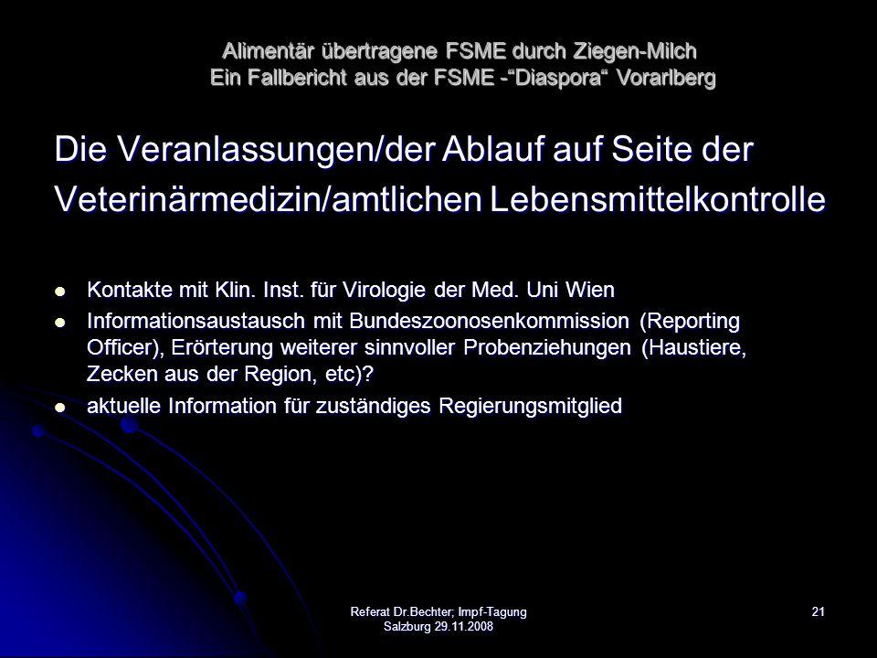 21Referat Dr.Bechter; Impf-Tagung Salzburg 29.11.2008 Die Veranlassungen/der Ablauf auf Seite der Veterinärmedizin/amtlichen Lebensmittelkontrolle Kontakte mit Klin.