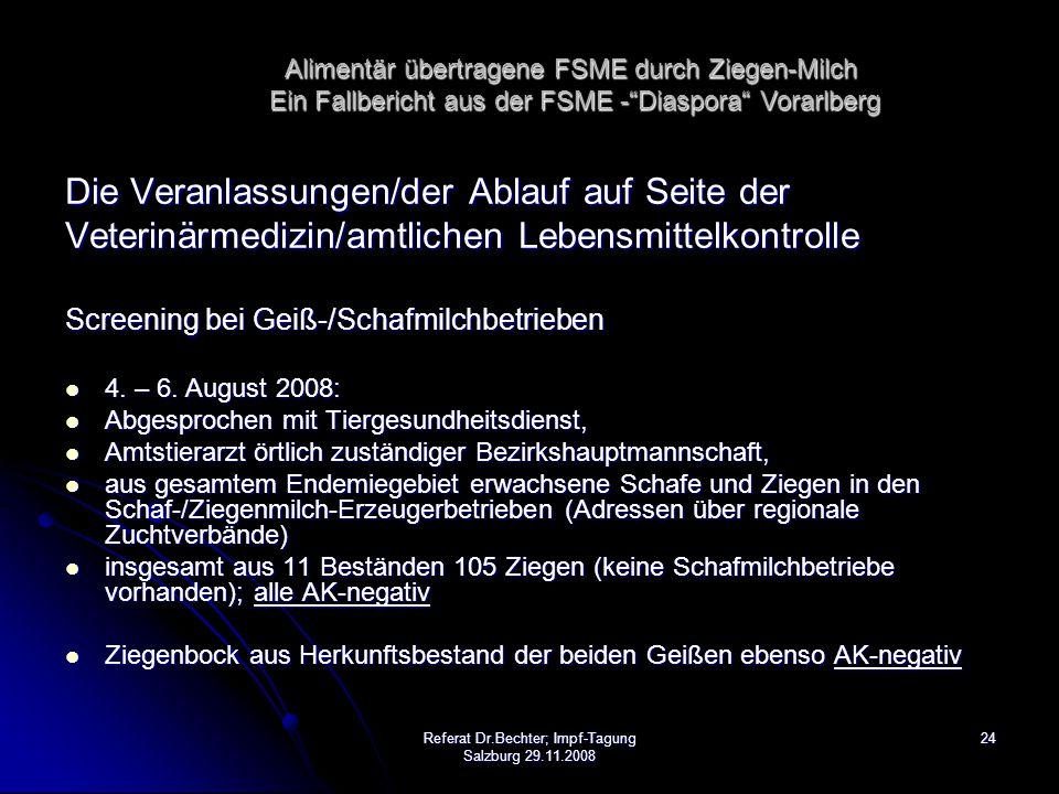 24Referat Dr.Bechter; Impf-Tagung Salzburg 29.11.2008 Die Veranlassungen/der Ablauf auf Seite der Veterinärmedizin/amtlichen Lebensmittelkontrolle Screening bei Geiß-/Schafmilchbetrieben 4.