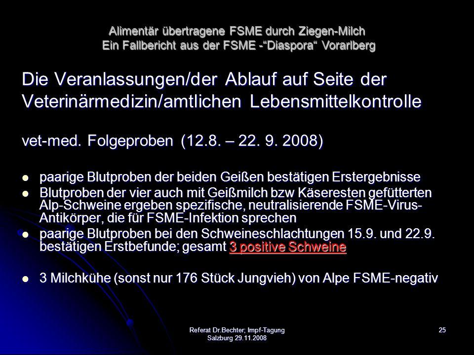 25Referat Dr.Bechter; Impf-Tagung Salzburg 29.11.2008 Die Veranlassungen/der Ablauf auf Seite der Veterinärmedizin/amtlichen Lebensmittelkontrolle vet-med.