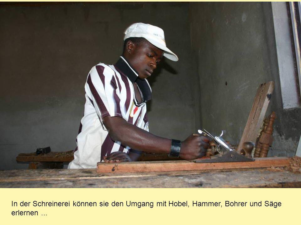 In der Schreinerei können sie den Umgang mit Hobel, Hammer, Bohrer und Säge erlernen...