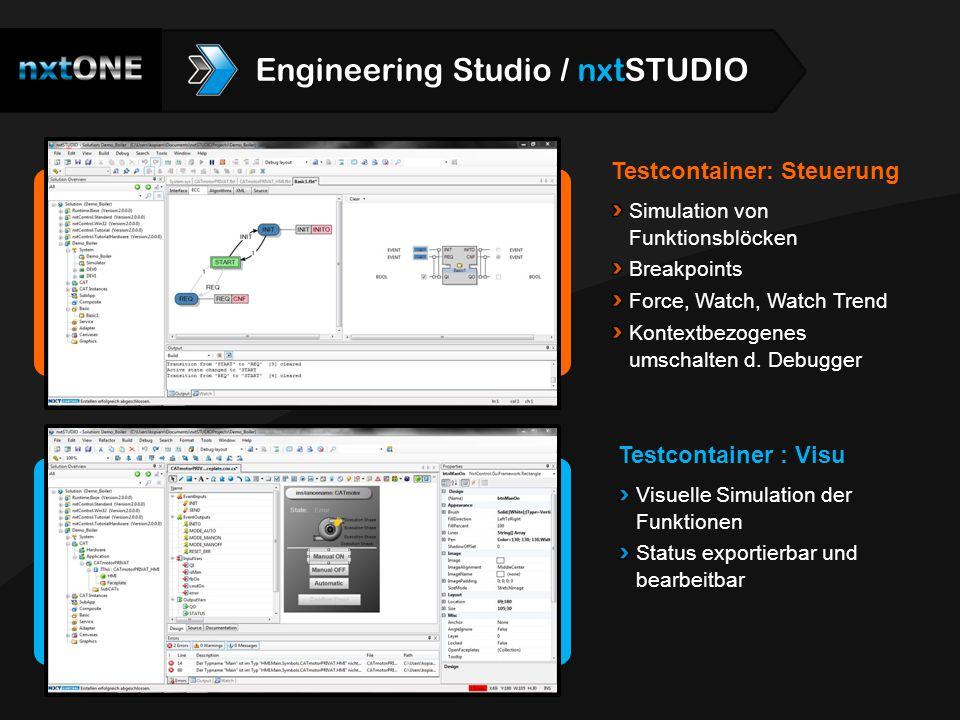 Testcontainer: Steuerung Simulation von Funktionsblöcken Breakpoints Force, Watch, Watch Trend Kontextbezogenes umschalten d. Debugger Testcontainer :
