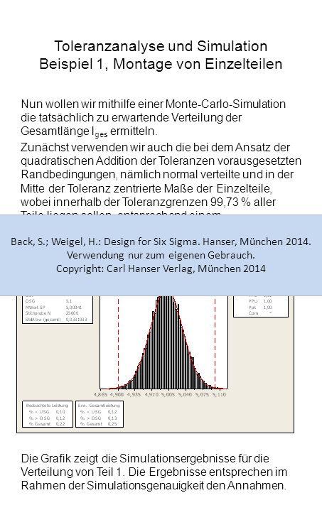 Toleranzanalyse und Simulation Beispiel 1, Montage von Einzelteilen Nun wollen wir mithilfe einer Monte-Carlo-Simulation die tatsächlich zu erwartende