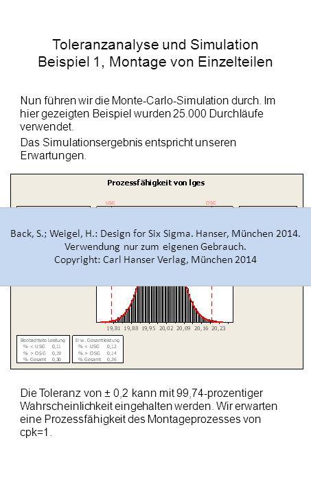 Toleranzanalyse und Simulation Beispiel 1, Montage von Einzelteilen Nun führen wir die Monte-Carlo-Simulation durch. Im hier gezeigten Beispiel wurden