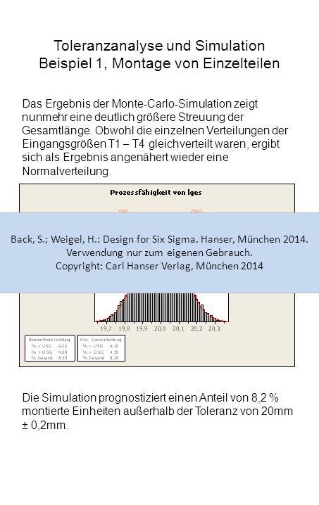 Toleranzanalyse und Simulation Beispiel 1, Montage von Einzelteilen Das Ergebnis der Monte-Carlo-Simulation zeigt nunmehr eine deutlich größere Streuu