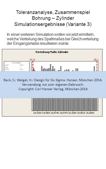 Toleranzanalyse, Zusammenspiel Bohrung – Zylinder Simulationsergebnisse (Variante 3) Aufgrund der Gleichverteilung der Eingangsmaße ergibt sich eine deutlich größere Streuung des Spaltmaßes.