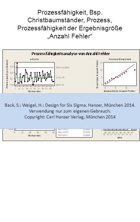 """Prozessfähigkeit, Bsp. Christbaumständer, Prozess, Prozessfähigkeit der Ergebnisgröße """"Anzahl Fehler"""" Back, S.; Weigel, H.: Design for Six Sigma. Hans"""