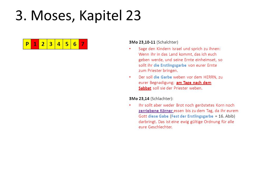 3. Moses, Kapitel 23 P1234567 3Mo 23,10-11 (Schalchter) Sage den Kindern Israel und sprich zu ihnen: Wenn ihr in das Land kommt, das ich euch geben we