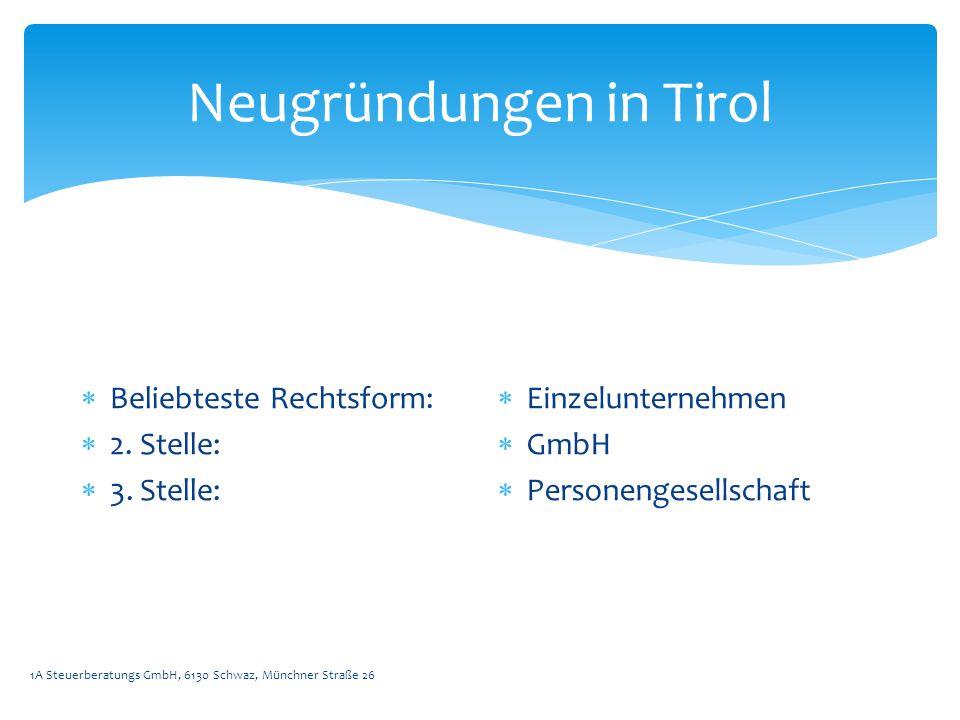 Neugründungen in Tirol 1A Steuerberatungs GmbH, 6130 Schwaz, Münchner Straße 26  Beliebteste Rechtsform:  2.