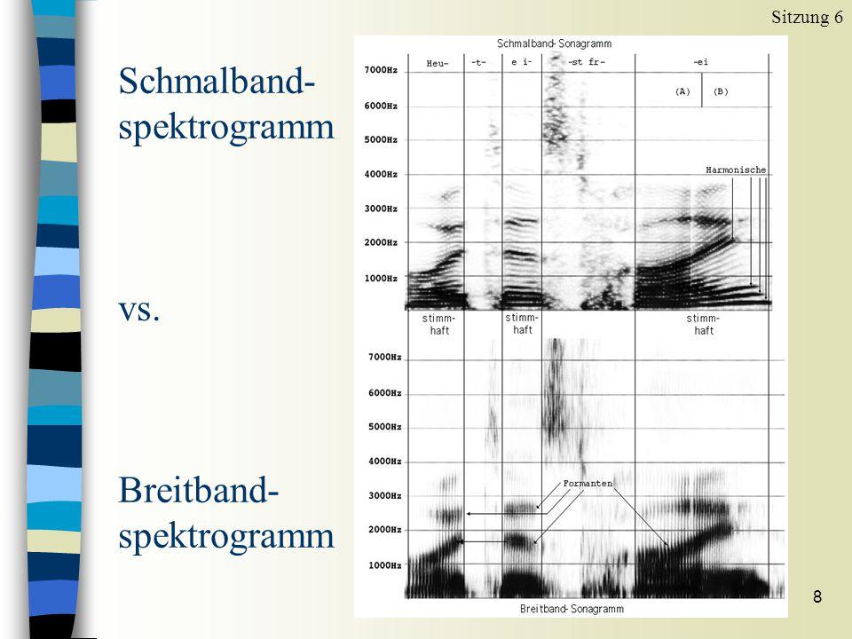 7 Schmalband-Spektrogramm n Unter Spectrum, Spectrogram settings n Window length (s) von 0.005 auf 0.03 ändern Sitzung 6 Niedrige Auflösung im Zeitber
