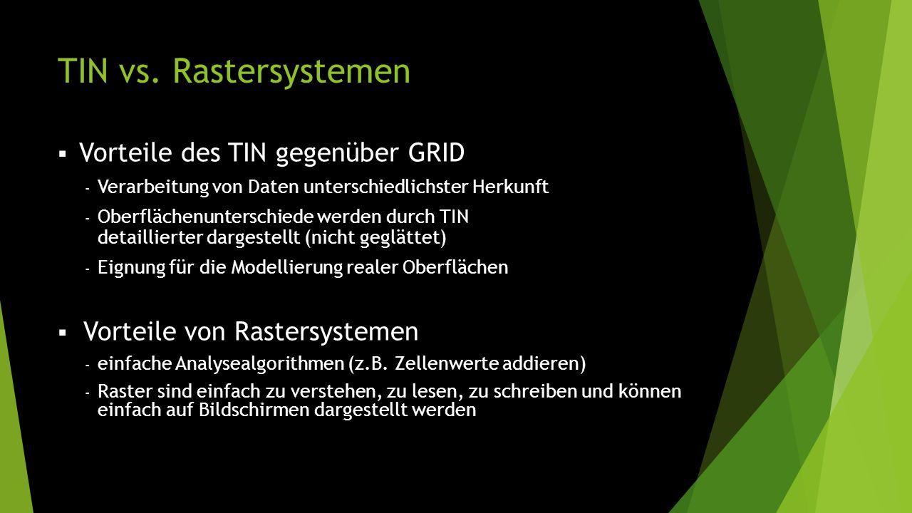 TIN vs. Rastersystemen  Vorteile des TIN gegenüber GRID - Verarbeitung von Daten unterschiedlichster Herkunft - Oberflächenunterschiede werden durch