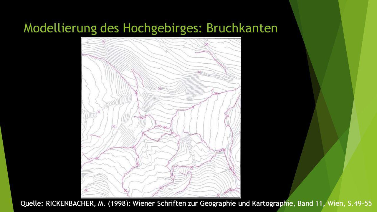 Modellierung des Hochgebirges: Bruchkanten Quelle: RICKENBACHER, M. (1998): Wiener Schriften zur Geographie und Kartographie, Band 11, Wien, S.49-55