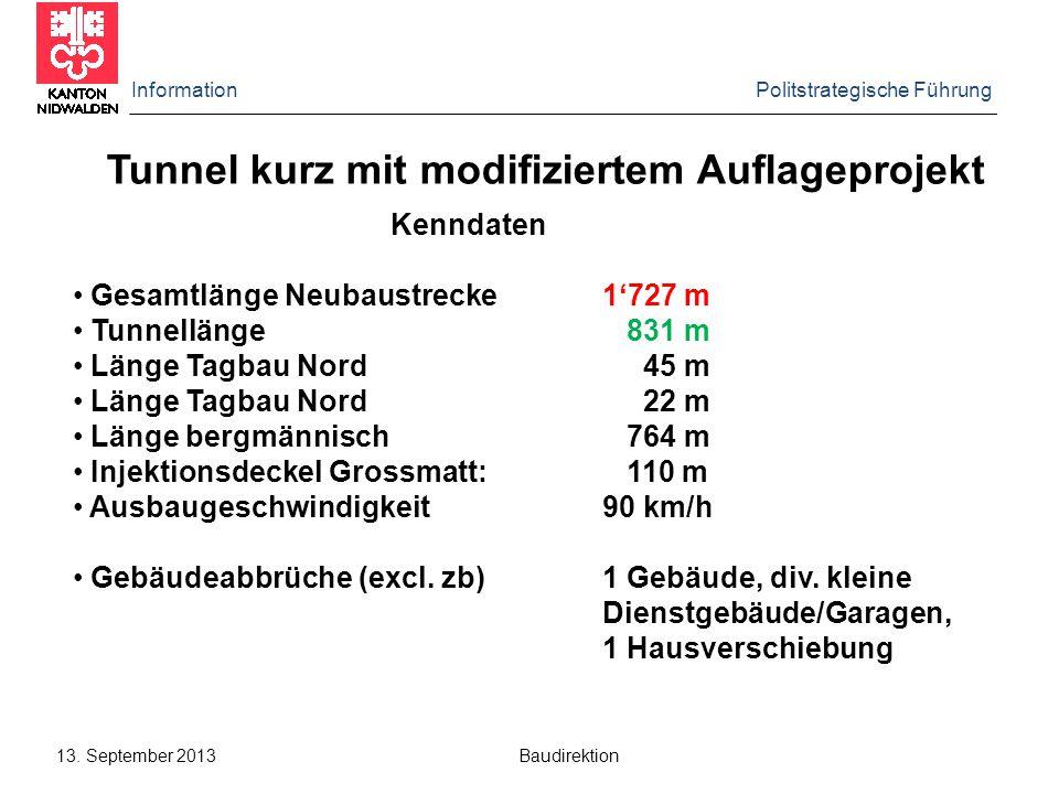 Information Politstrategische Führung 13. September 2013 Baudirektion Tunnel kurz mit modifiziertem Auflageprojekt Kenndaten Gesamtlänge Neubaustrecke