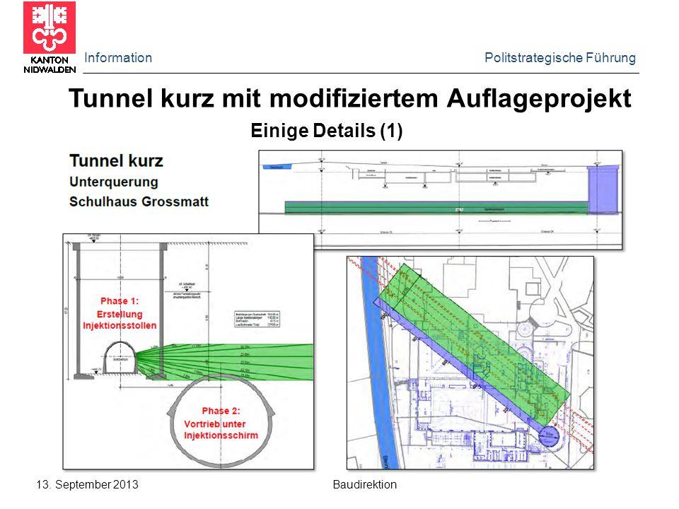 Information Politstrategische Führung 13. September 2013 Baudirektion Tunnel kurz mit modifiziertem Auflageprojekt Einige Details (1)