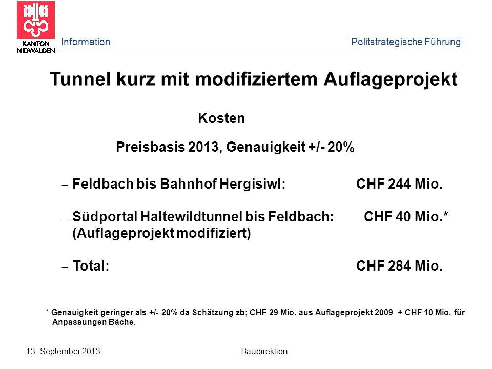 Information Politstrategische Führung 13. September 2013 Baudirektion Tunnel kurz mit modifiziertem Auflageprojekt Kosten Preisbasis 2013, Genauigkeit