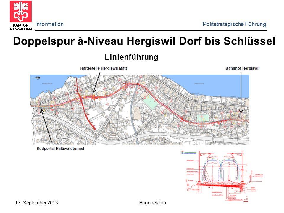 Information Politstrategische Führung 13. September 2013 Baudirektion Doppelspur à-Niveau Hergiswil Dorf bis Schlüssel Linienführung