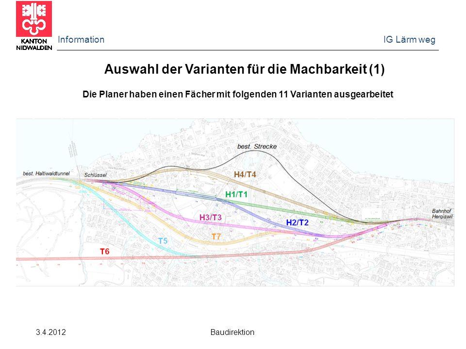 Information IG Lärm weg 3.4.2012 Baudirektion Auswahl der Varianten für die Machbarkeit (1) Die Planer haben einen Fächer mit folgenden 11 Varianten a