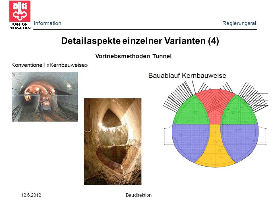 Information Regierungsrat 12.6.2012 Baudirektion Detailaspekte einzelner Varianten (4) Vortriebsmethoden Tunnel