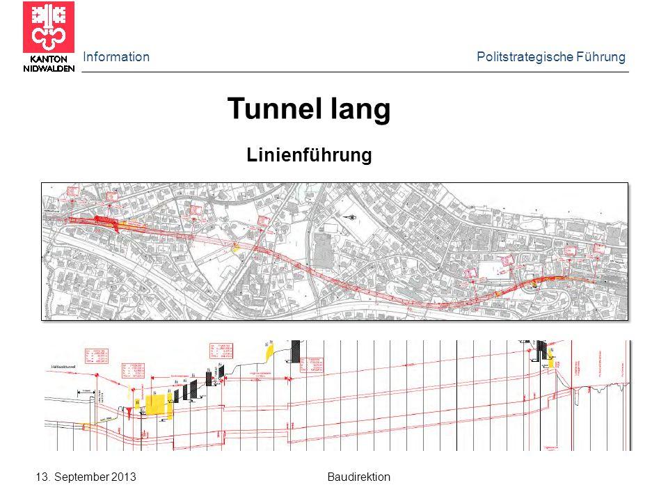 Information Politstrategische Führung 13. September 2013 Baudirektion Linienführung Tunnel lang