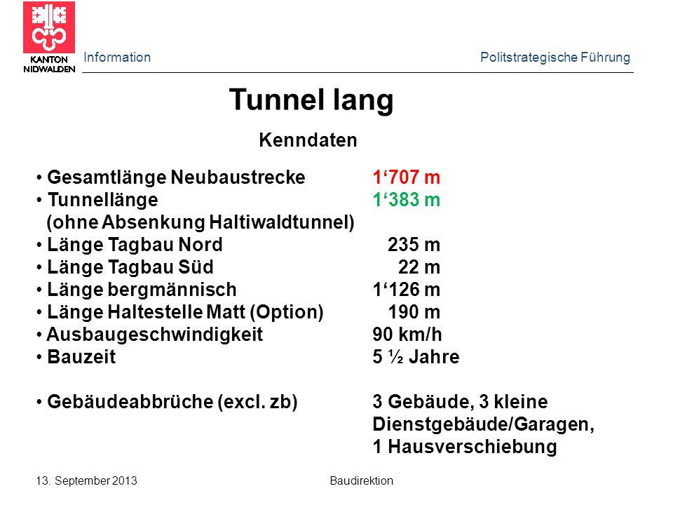 Information Politstrategische Führung 13. September 2013 Baudirektion Kenndaten Tunnel lang Gesamtlänge Neubaustrecke1'707 m Tunnellänge1'383 m (ohne