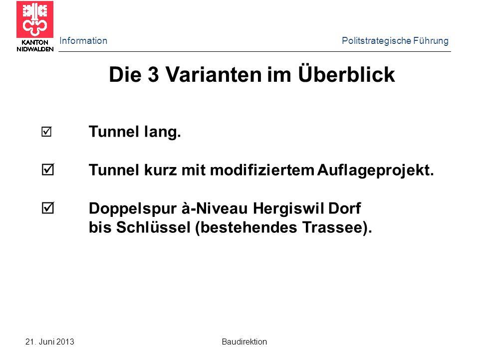 Information Politstrategische Führung 21. Juni 2013 Baudirektion Linienführung Tunnel lang
