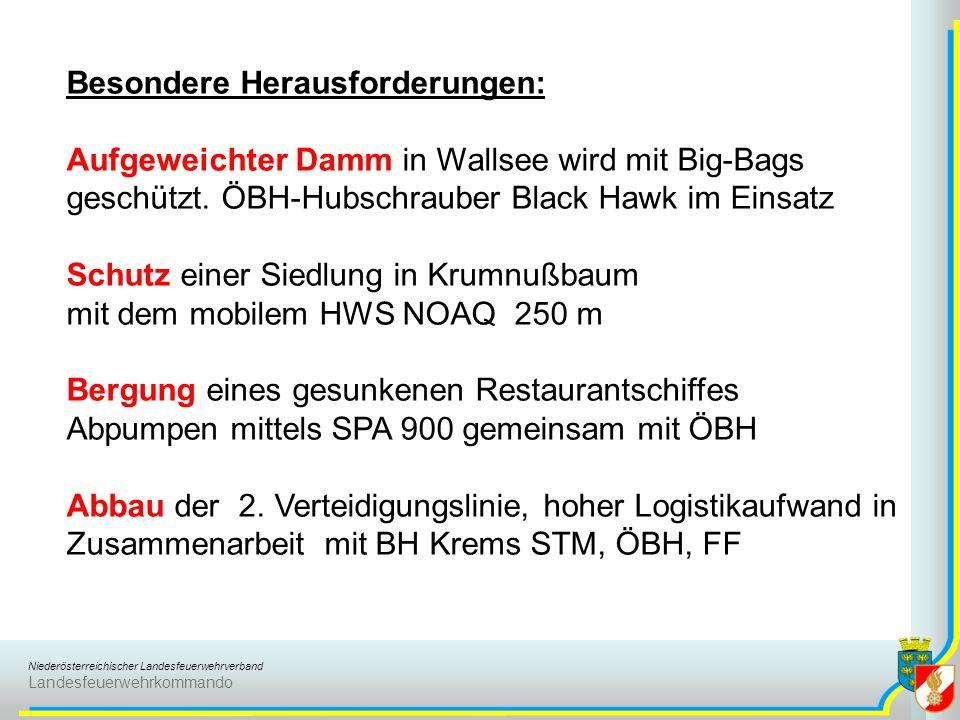 Niederösterreichischer Landesfeuerwehrverband Landesfeuerwehrkommando Besondere Herausforderungen: Aufgeweichter Damm in Wallsee wird mit Big-Bags geschützt.