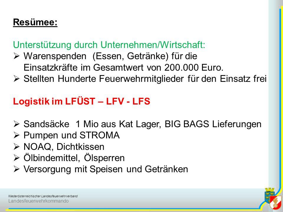 Niederösterreichischer Landesfeuerwehrverband Landesfeuerwehrkommando Resümee: Unterstützung durch Unternehmen/Wirtschaft:  Warenspenden (Essen, Getränke) für die Einsatzkräfte im Gesamtwert von 200.000 Euro.