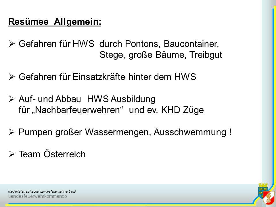 Niederösterreichischer Landesfeuerwehrverband Landesfeuerwehrkommando Resümee Allgemein:  Gefahren für HWS durch Pontons, Baucontainer, Stege, große