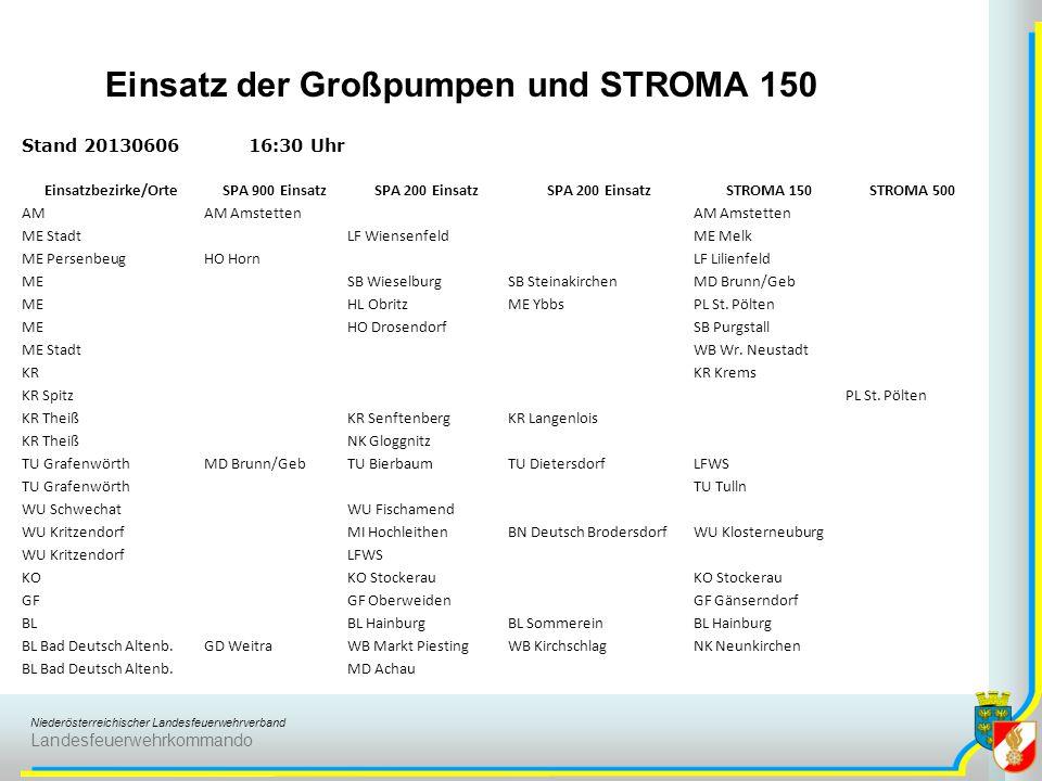 Niederösterreichischer Landesfeuerwehrverband Landesfeuerwehrkommando Stand 2013060616:30 Uhr Einsatzbezirke/OrteSPA 900 EinsatzSPA 200 Einsatz STROMA
