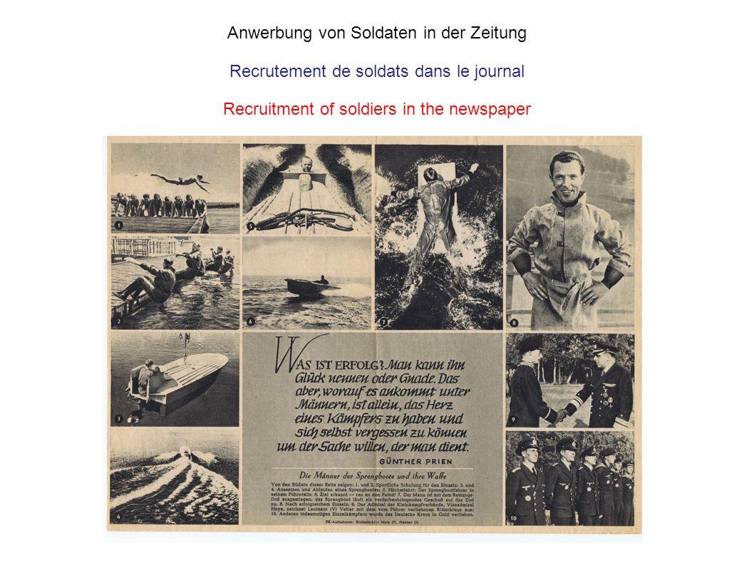 Anwerbung von Soldaten in der Zeitung Recrutement de soldats dans le journal Recruitment of soldiers in the newspaper