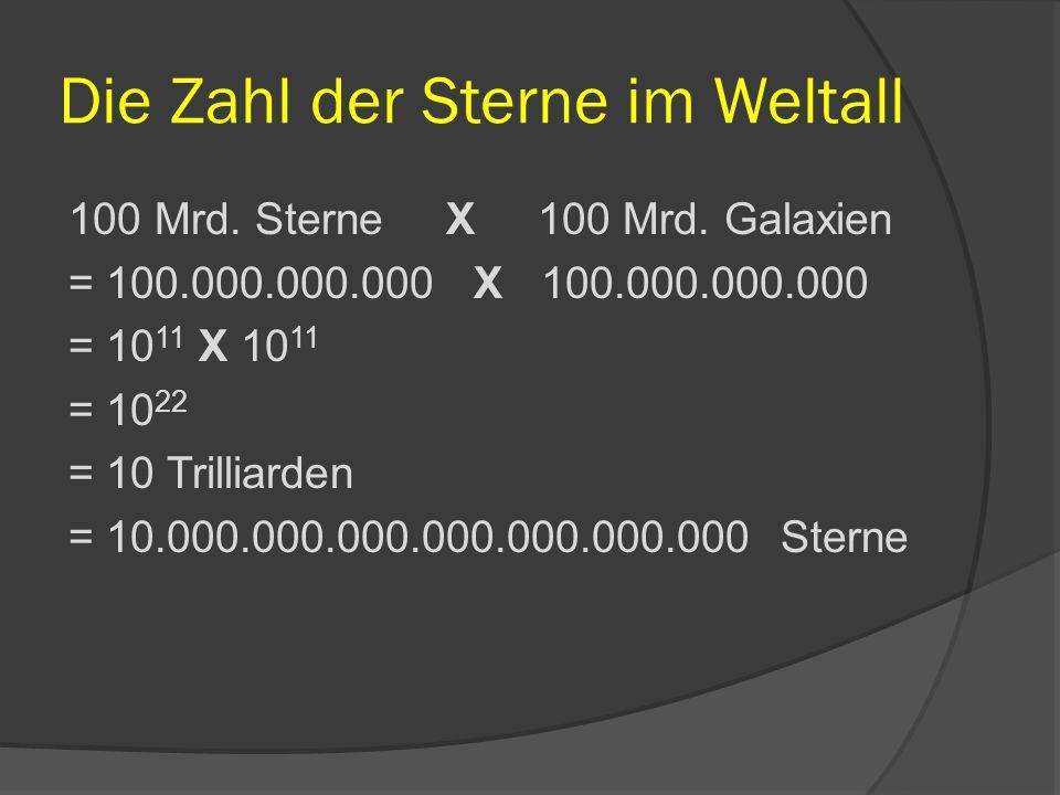 Die Zahl der Sterne im Weltall 100 Mrd. Sterne X 100 Mrd. Galaxien = 100.000.000.000 X 100.000.000.000 = 10 11 X 10 11 = 10 22 = 10 Trilliarden = 10.0