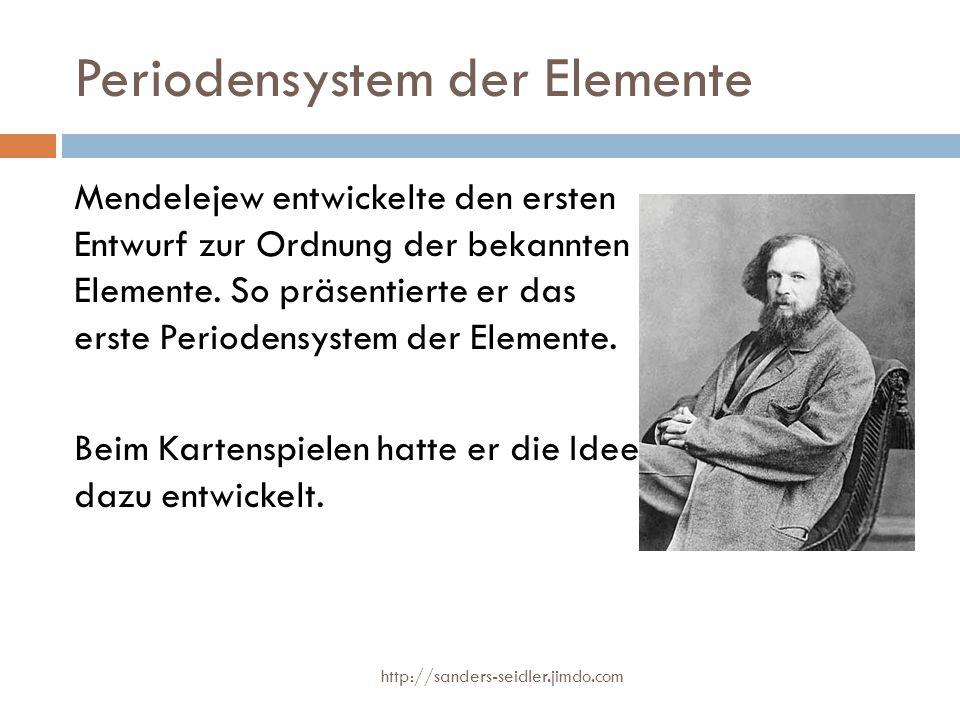 Periodensystem der Elemente Mendelejew entwickelte den ersten Entwurf zur Ordnung der bekannten Elemente. So präsentierte er das erste Periodensystem