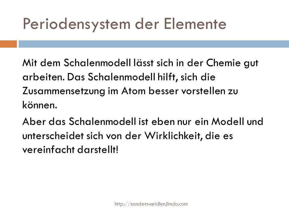 Periodensystem der Elemente Mit dem Schalenmodell lässt sich in der Chemie gut arbeiten. Das Schalenmodell hilft, sich die Zusammensetzung im Atom bes