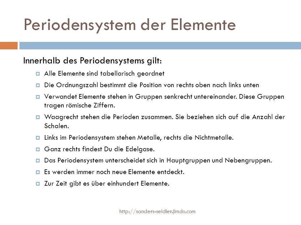 Periodensystem der Elemente Innerhalb des Periodensystems gilt:  Alle Elemente sind tabellarisch geordnet  Die Ordnungszahl bestimmt die Position vo