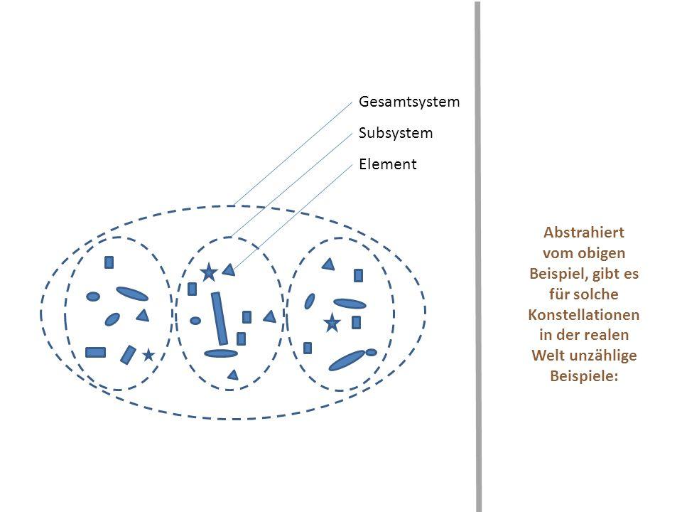 Abstrahiert vom obigen Beispiel, gibt es für solche Konstellationen in der realen Welt unzählige Beispiele: Gesamtsystem Subsystem Element
