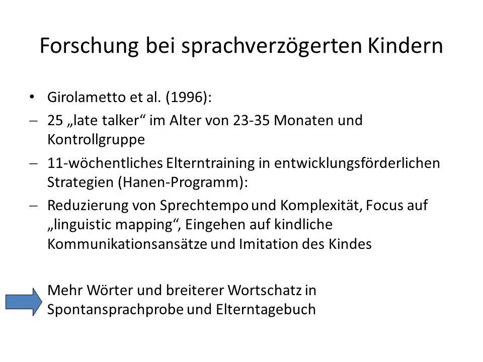 Forschung bei sprachverzögerten Kindern Girolametto et al.