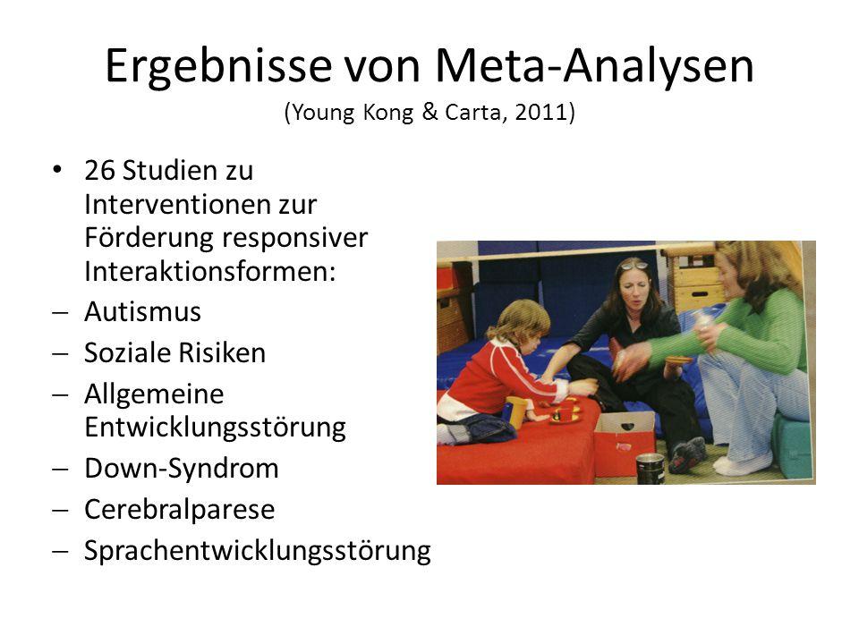 Ergebnisse von Meta-Analysen (Young Kong & Carta, 2011) 26 Studien zu Interventionen zur Förderung responsiver Interaktionsformen:  Autismus  Soziale Risiken  Allgemeine Entwicklungsstörung  Down-Syndrom  Cerebralparese  Sprachentwicklungsstörung