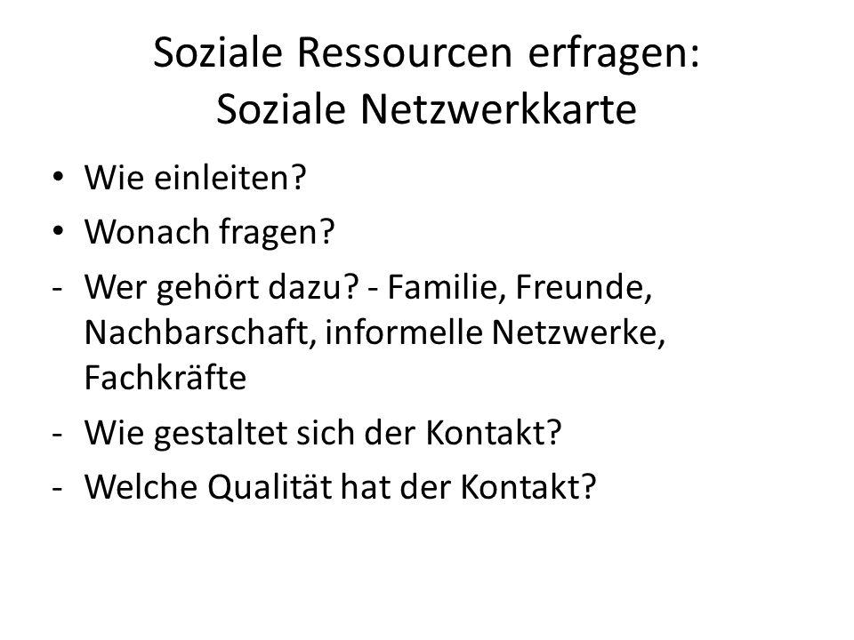 Soziale Ressourcen erfragen: Soziale Netzwerkkarte Wie einleiten.