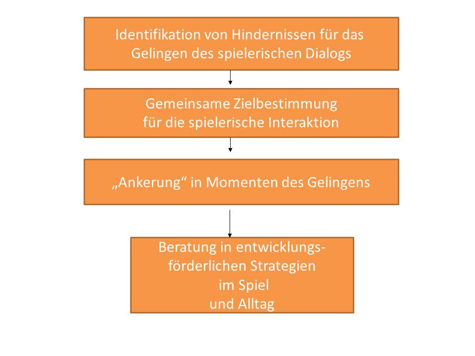 """Identifikation von Hindernissen für das Gelingen des spielerischen Dialogs Gemeinsame Zielbestimmung für die spielerische Interaktion """"Ankerung in Momenten des Gelingens Beratung in entwicklungs- förderlichen Strategien im Spiel und Alltag"""