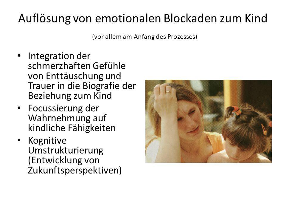 Auflösung von emotionalen Blockaden zum Kind (vor allem am Anfang des Prozesses) Integration der schmerzhaften Gefühle von Enttäuschung und Trauer in die Biografie der Beziehung zum Kind Focussierung der Wahrnehmung auf kindliche Fähigkeiten Kognitive Umstrukturierung (Entwicklung von Zukunftsperspektiven)