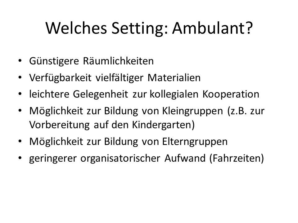 Welches Setting: Ambulant.