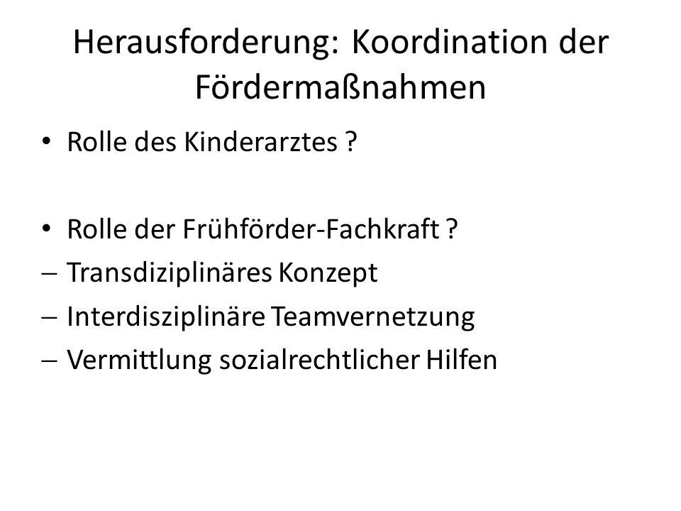 Herausforderung: Koordination der Fördermaßnahmen Rolle des Kinderarztes .
