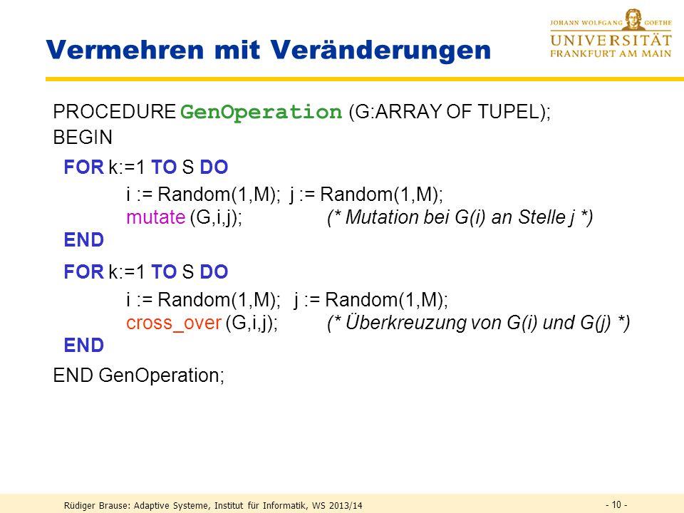 Rüdiger Brause: Adaptive Systeme, Institut für Informatik, WS 2013/14 - 9 - vorhernachher Mutation Genetische Operatoren cross - over Inversion