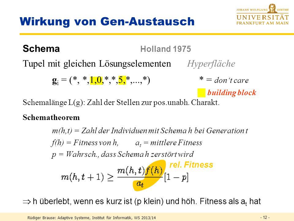 Rüdiger Brause: Adaptive Systeme, Institut für Informatik, WS 2013/14 - 11 - Beispiel Schmetterling Evolution eines binären Schmetterlings (Rechenberg 1973) Genotyp g = (g 1,...,g n ) mit g i aus {1,0}= Färbung ja/nein Fitness = Hammingabstand, Änderungen = Zufall, Rekombination Generationen 10 Individuen, Mutation, Rekombination, Auslese 10 Individuen, Mutation, Auslese 1 Individuum, Mutation, Auslese Hamming-Distanz 0