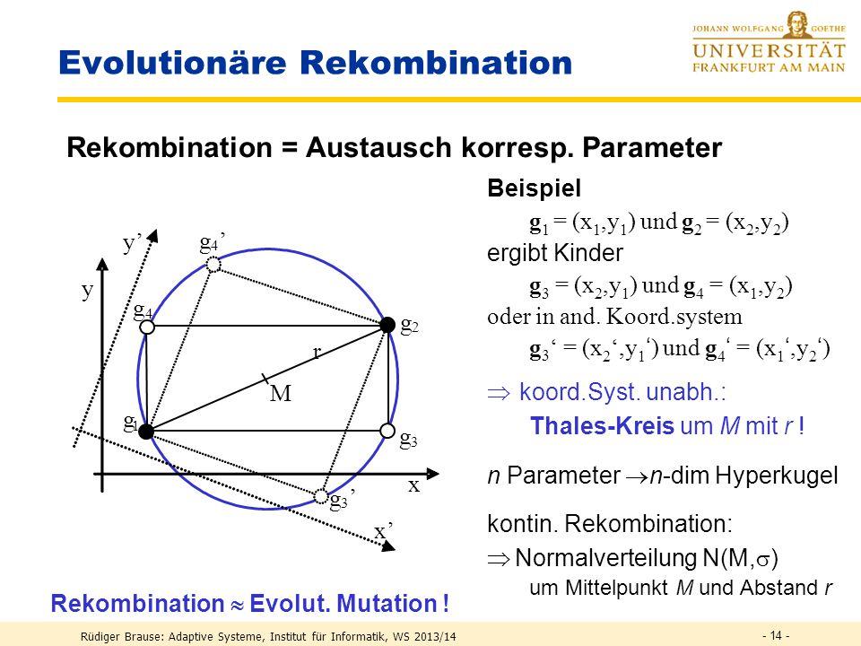"""Rüdiger Brause: Adaptive Systeme, Institut für Informatik, WS 2013/14 - 13 - Wirkung genetischer Operatoren Idee: Kombination """"guter Gene verbessert eine Lösung Gen-Rekombination ist nur sinnvoll bei geeigneten Gen-Definitionen ."""