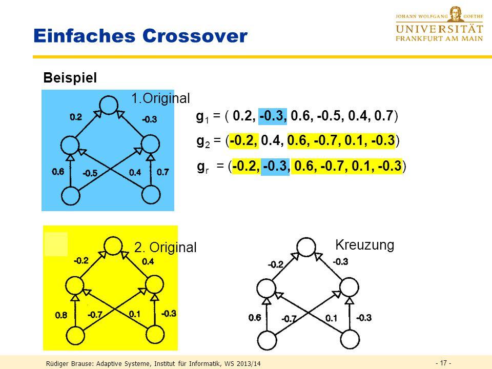 Rüdiger Brause: Adaptive Systeme, Institut für Informatik, WS 2013/14 - 16 - Kodierung der Verbindungsgewichte Individuum g = Kodierung eines Netzes fester Struktur durch seine Parameter x1x1 x2x2 F(x 1,x 2 )