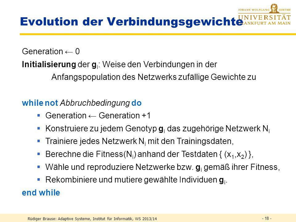 Rüdiger Brause: Adaptive Systeme, Institut für Informatik, WS 2013/14 - 17 - Einfaches Crossover Beispiel 1.Original 2. Original Kreuzung g 2 = (-0.2,