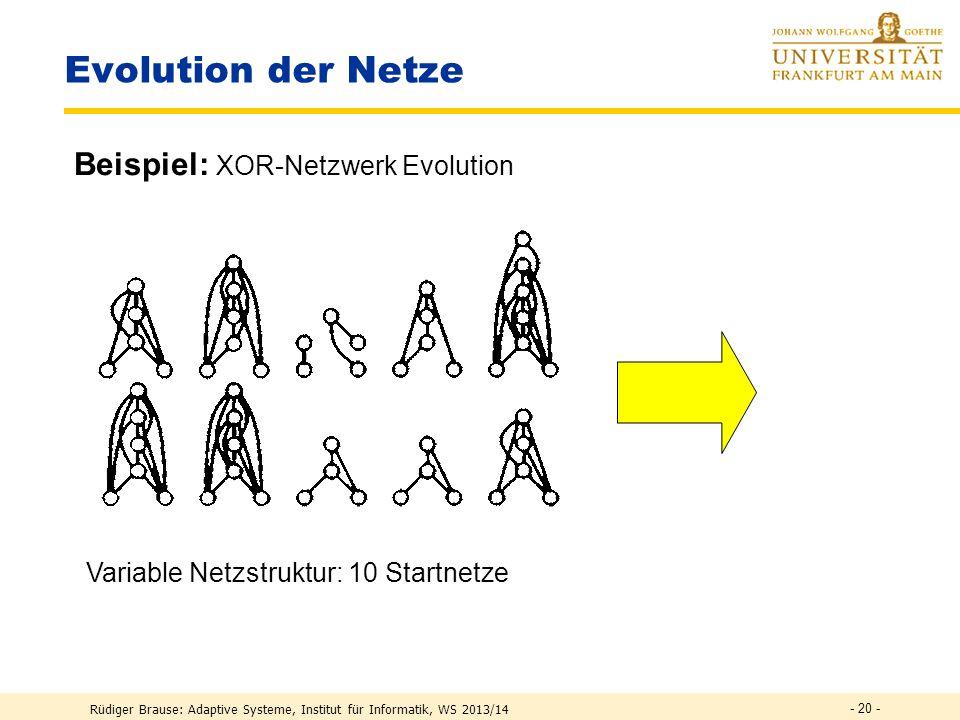 Rüdiger Brause: Adaptive Systeme, Institut für Informatik, WS 2013/14 - 19 - Evolution der Verbindungsgewichte Überblick Evolutionszyklus Phänotyp Genotyp Muster Training Evolut.
