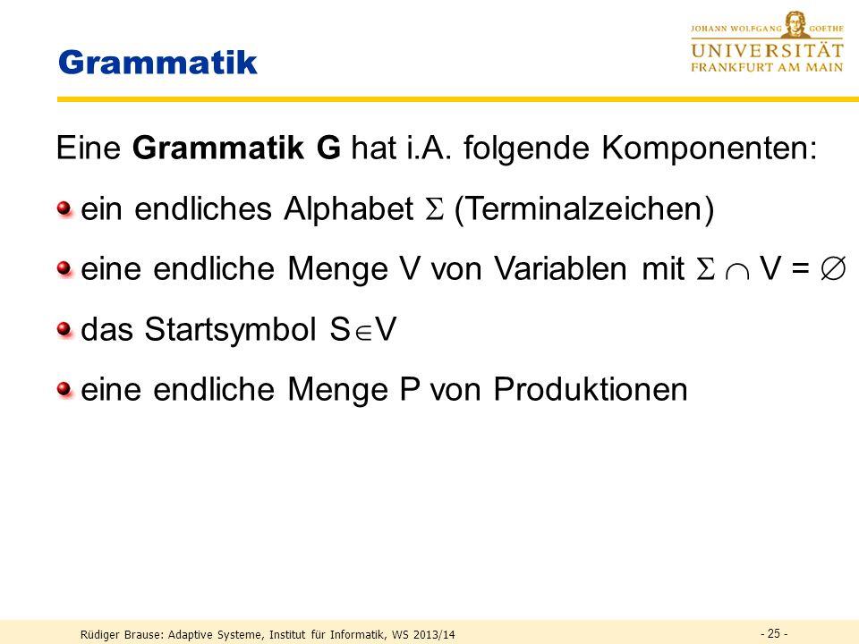 Rüdiger Brause: Adaptive Systeme, Institut für Informatik, WS 2013/14 - 24 - Indirektes Kodieren Allgemein3-stufiges Kodierungs-Schema S  ( ) W i  { A,B,...,Z } W i  ( ) v i  { a,b,...,p } v i  ( ) z i  { 0,1 } W 1 W 2 W 3 W 4 v 1 v 2 v 3 v 4 z 1 z 2 z 3 z 4 Startsymbol Terminale