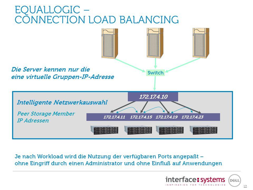 12 172.17.4.11 172.17.4.15 172.17.4.19 172.17.4.23 Peer Storage Member IP Adressen Je nach Workload wird die Nutzung der verfügbaren Ports angepaßt –